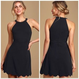 Lulus Mamacita Black Halter Skater Dress